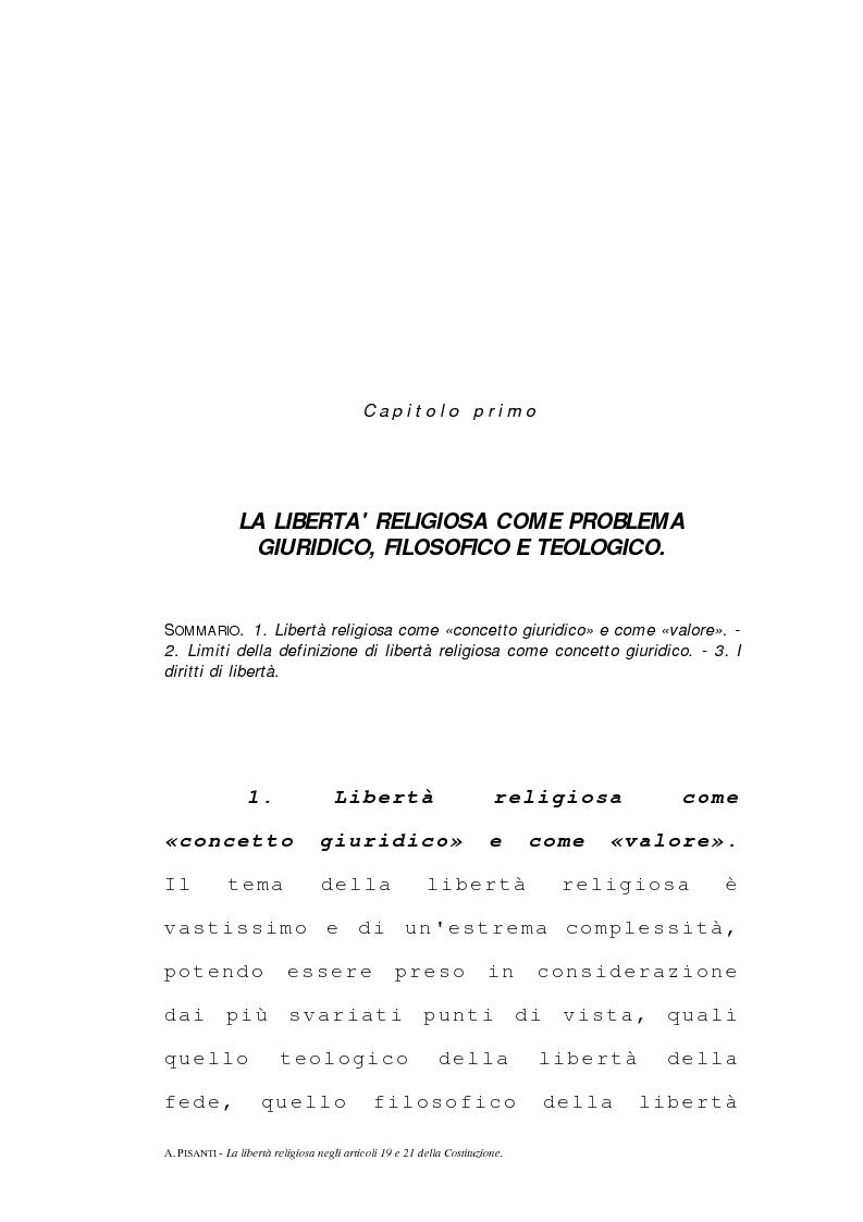 Anteprima della tesi: La libertà religiosa negli articoli 19 e 21 della Costituzione italiana, Pagina 1