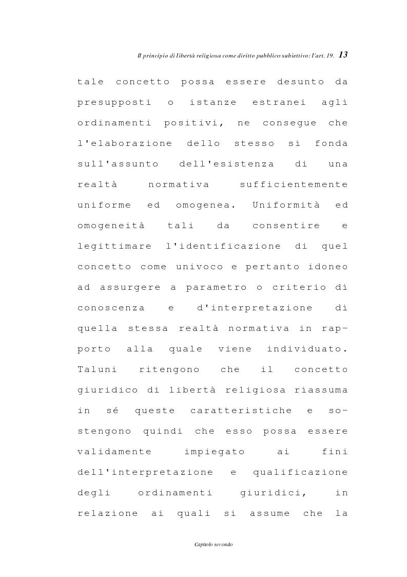 Anteprima della tesi: La libertà religiosa negli articoli 19 e 21 della Costituzione italiana, Pagina 10