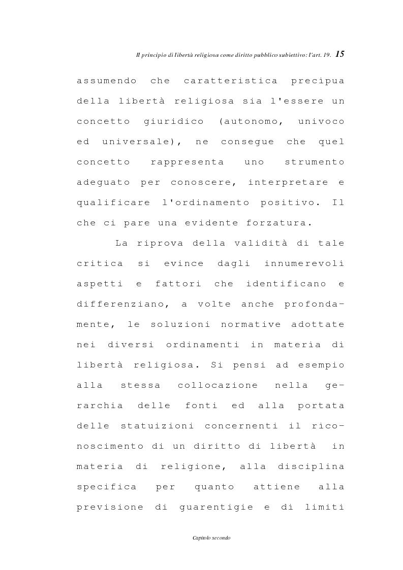 Anteprima della tesi: La libertà religiosa negli articoli 19 e 21 della Costituzione italiana, Pagina 12