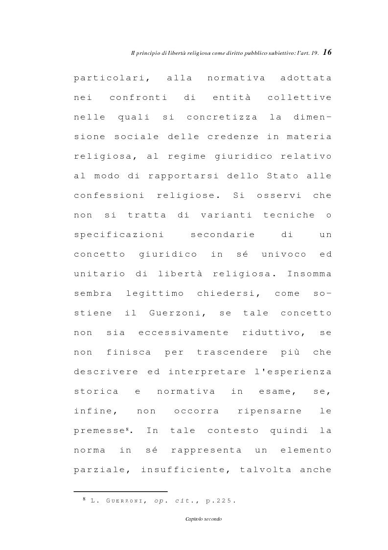 Anteprima della tesi: La libertà religiosa negli articoli 19 e 21 della Costituzione italiana, Pagina 13