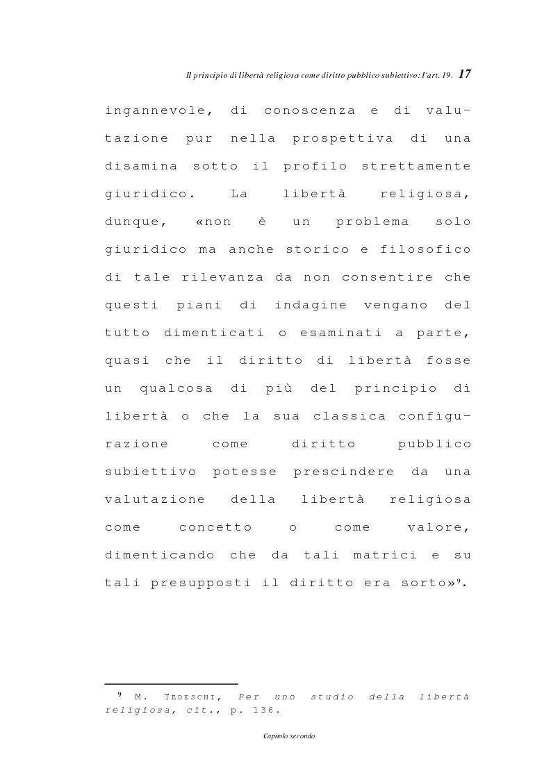 Anteprima della tesi: La libertà religiosa negli articoli 19 e 21 della Costituzione italiana, Pagina 14