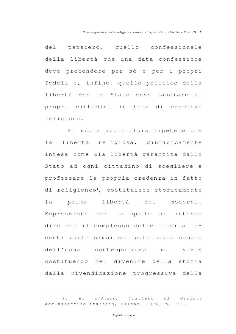 Anteprima della tesi: La libertà religiosa negli articoli 19 e 21 della Costituzione italiana, Pagina 2