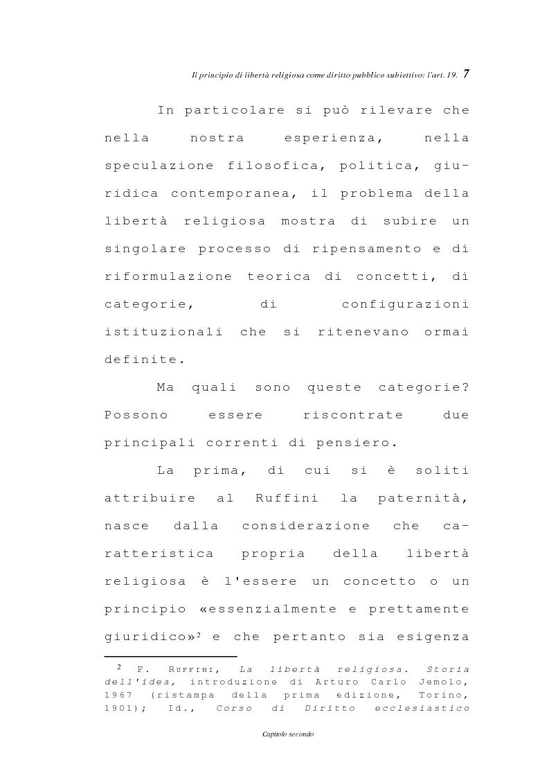 Anteprima della tesi: La libertà religiosa negli articoli 19 e 21 della Costituzione italiana, Pagina 4