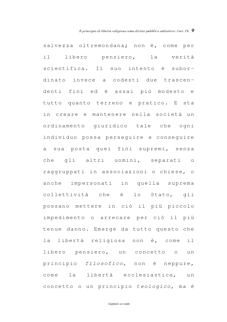 Anteprima della tesi: La libertà religiosa negli articoli 19 e 21 della Costituzione italiana, Pagina 6