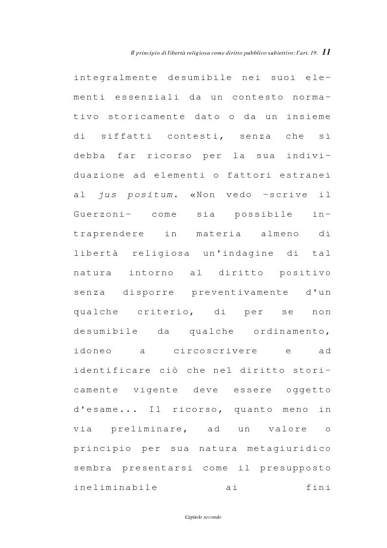 Anteprima della tesi: La libertà religiosa negli articoli 19 e 21 della Costituzione italiana, Pagina 8