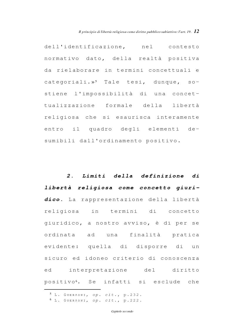 Anteprima della tesi: La libertà religiosa negli articoli 19 e 21 della Costituzione italiana, Pagina 9