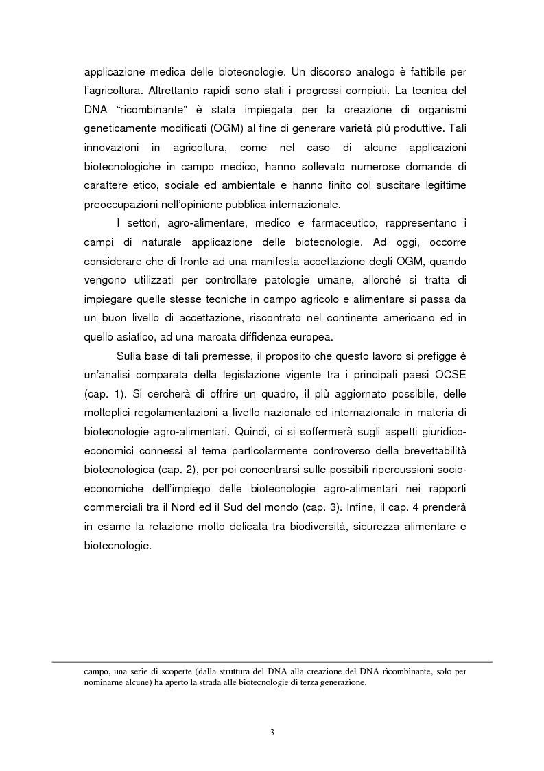 Anteprima della tesi: Biotecnologie e agribusiness: aspetti giuridici, economici e sociali, Pagina 6