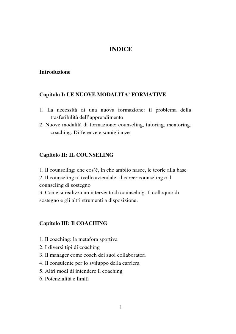 Indice della tesi: Counseling e coaching per la formazione dei manager: l'esperienza di Bayer, Pagina 1