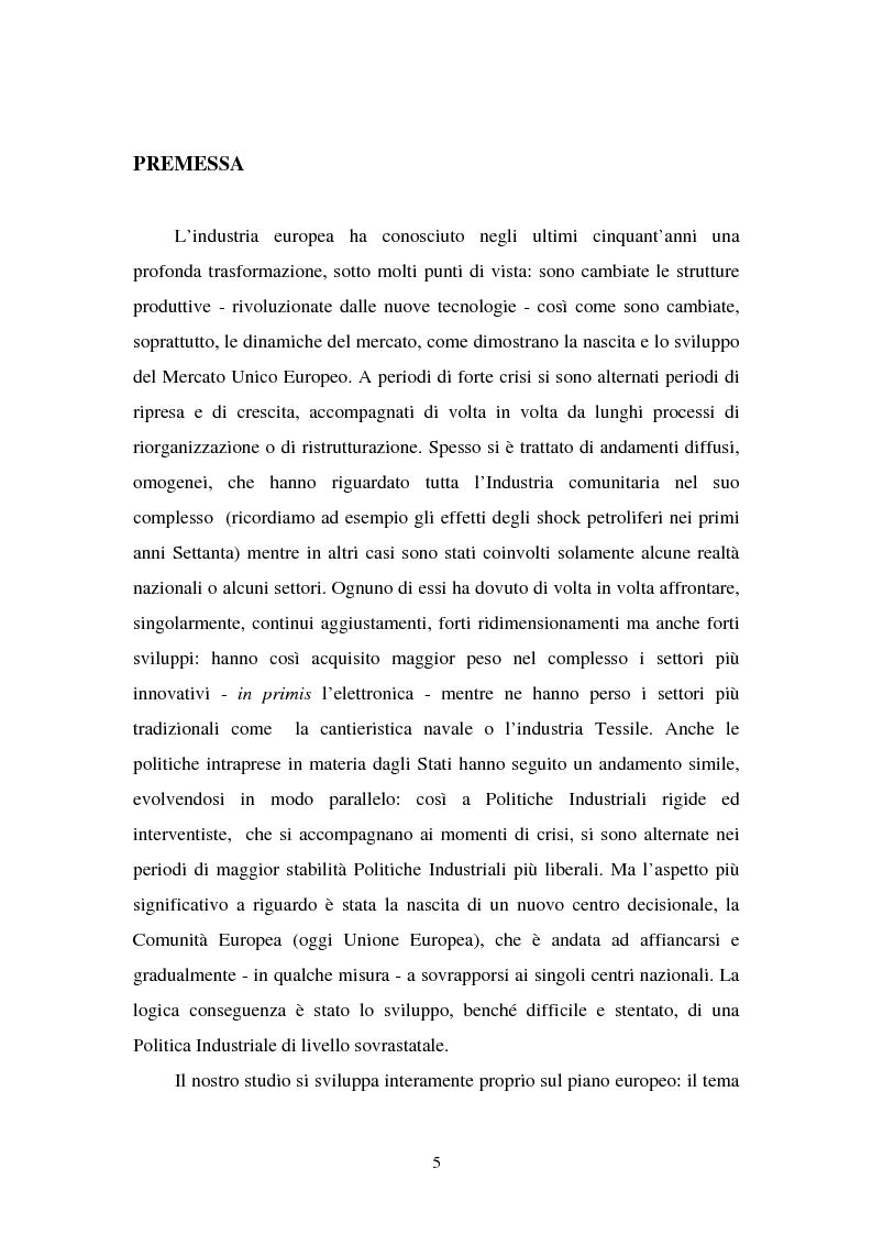 Anteprima della tesi: Le politiche industriali della Comunità Europea - Il settore tessile, Pagina 1