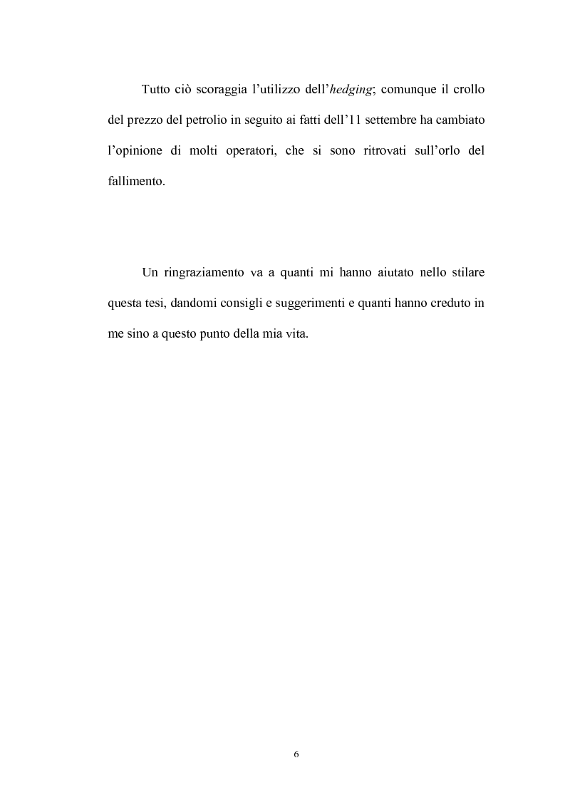 Anteprima della tesi: La merce petrolio, le fluttuazioni di prezzo e operazioni di hedging, Pagina 5