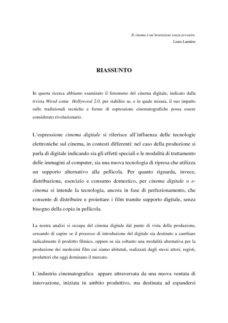 Anteprima della tesi: Hollywood 2.0: la produzione cinematografica nell'era digitale, Pagina 1