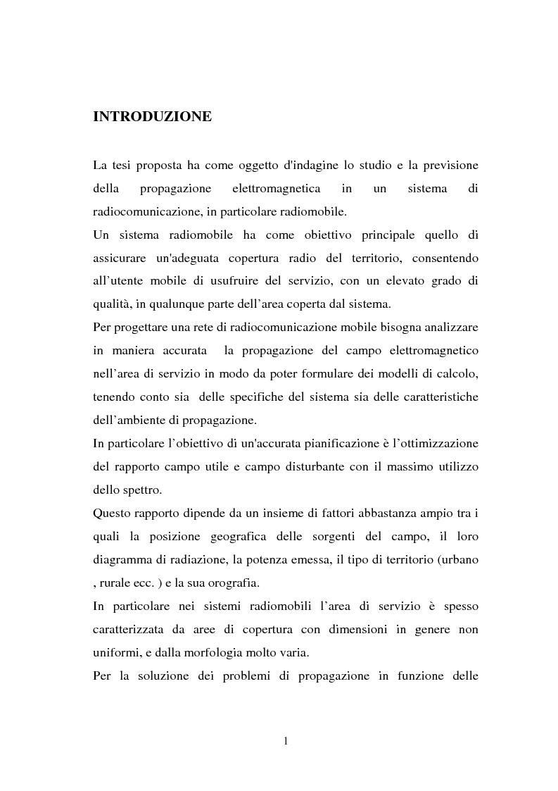 Anteprima della tesi: Sviluppo ed implementazione software di metodi UTD ray-tracing di previsione di propagazione elettromagnetica nel campo della telefonia cellulare in ambiente urbano, Pagina 1