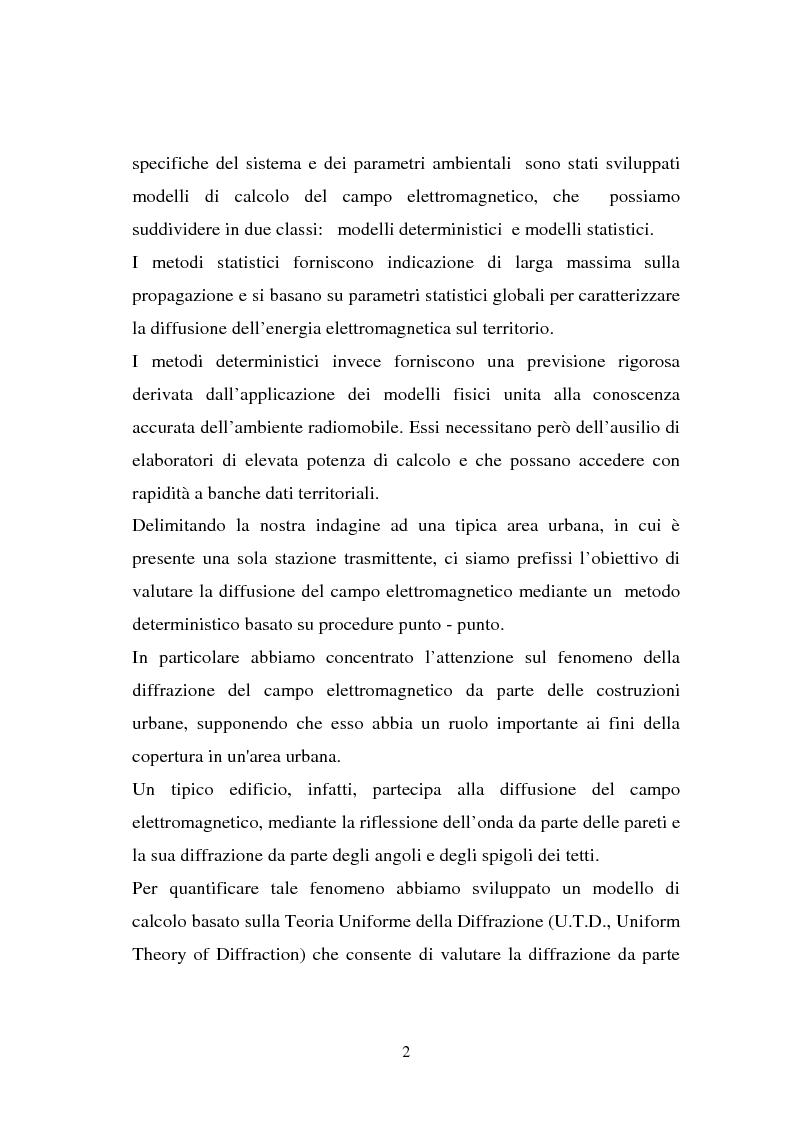 Anteprima della tesi: Sviluppo ed implementazione software di metodi UTD ray-tracing di previsione di propagazione elettromagnetica nel campo della telefonia cellulare in ambiente urbano, Pagina 2