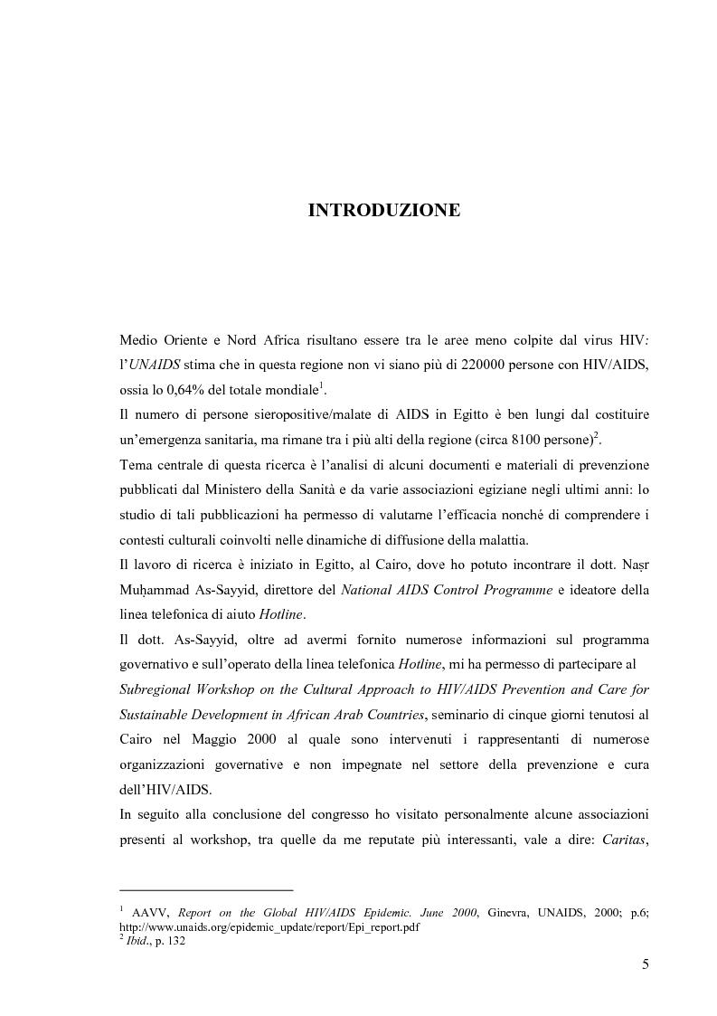 Anteprima della tesi: Hiv e Aids in Egitto: materiali per la prevenzione. Un approccio culturale, Pagina 5