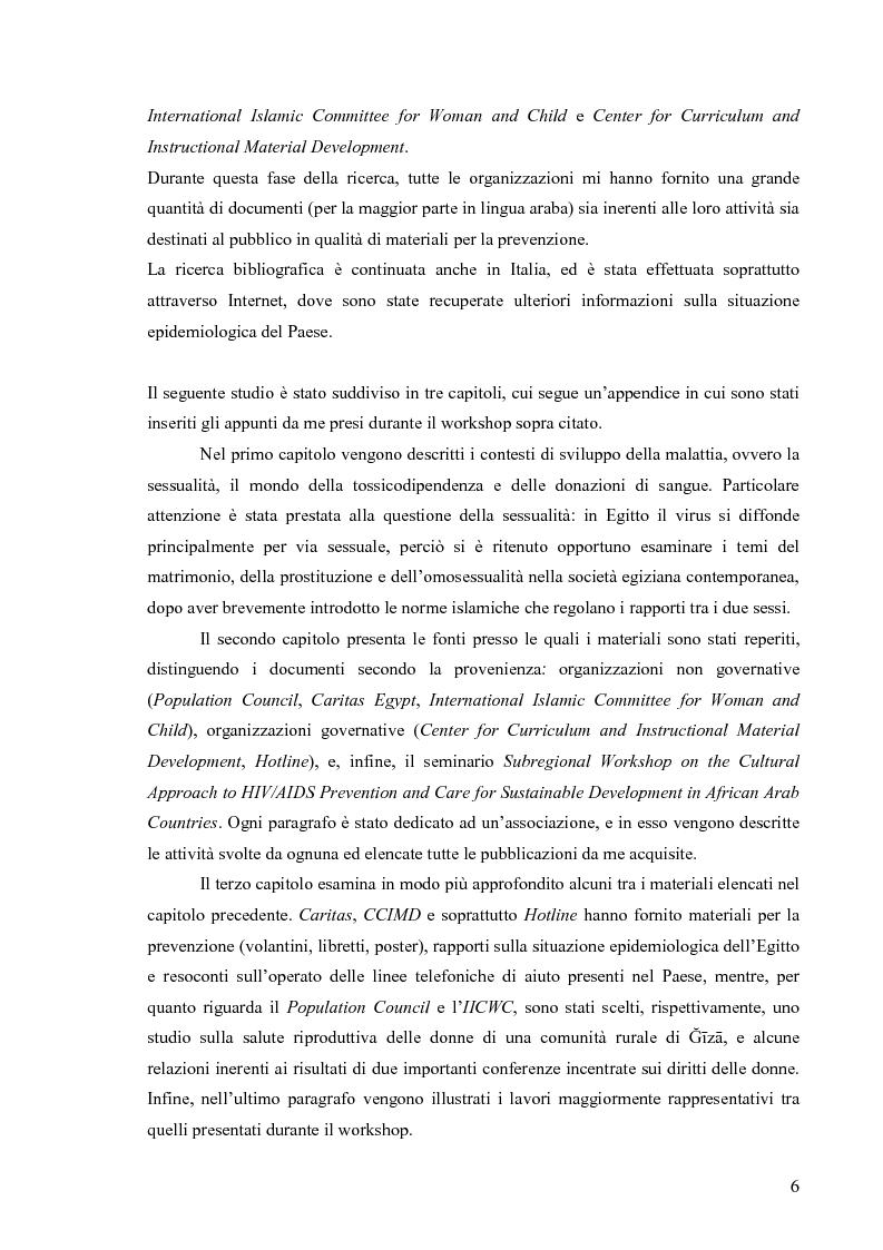 Anteprima della tesi: Hiv e Aids in Egitto: materiali per la prevenzione. Un approccio culturale, Pagina 6