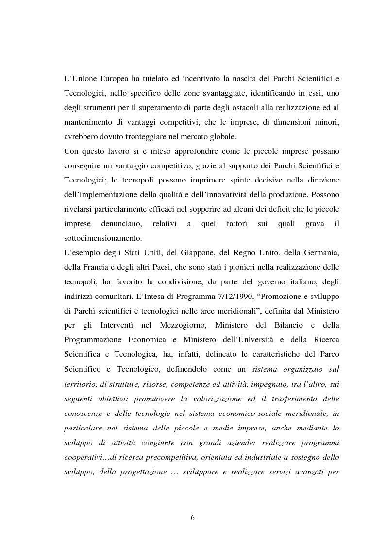 Anteprima della tesi: Piccole imprese e competitività: il ruolo dei parchi scientifici e tecnologici, Pagina 2