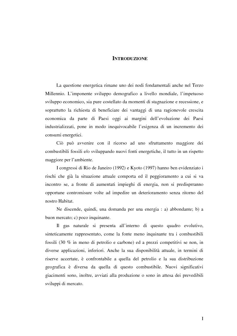 Anteprima della tesi: Ruolo del gas naturale e fonti di approvvigionamento per l'Italia, Pagina 1