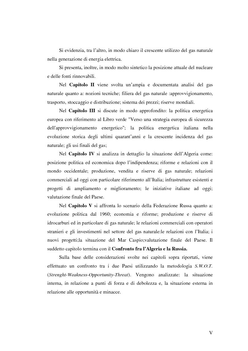 Anteprima della tesi: Ruolo del gas naturale e fonti di approvvigionamento per l'Italia, Pagina 5