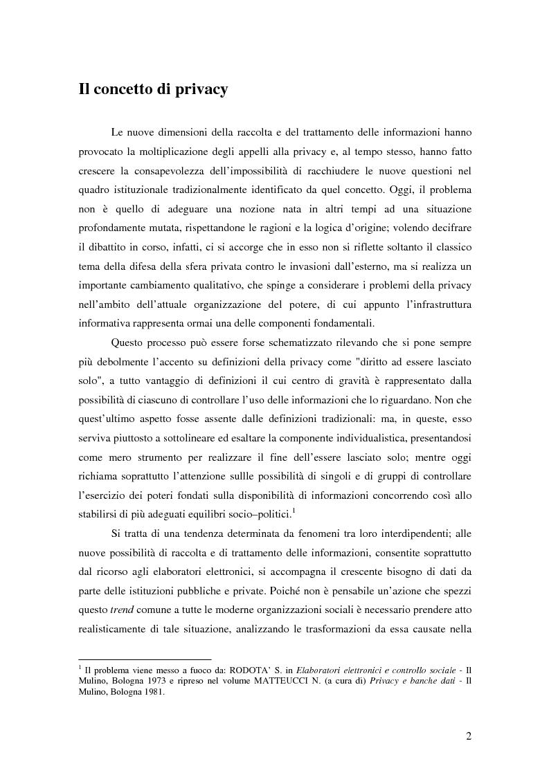 Anteprima della tesi: La tutela della privacy nella pubblica amministrazione, Pagina 1