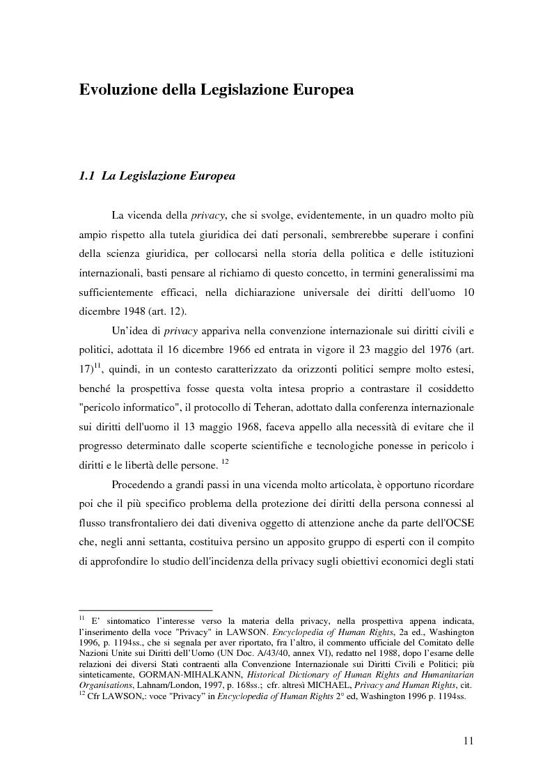 Anteprima della tesi: La tutela della privacy nella pubblica amministrazione, Pagina 10