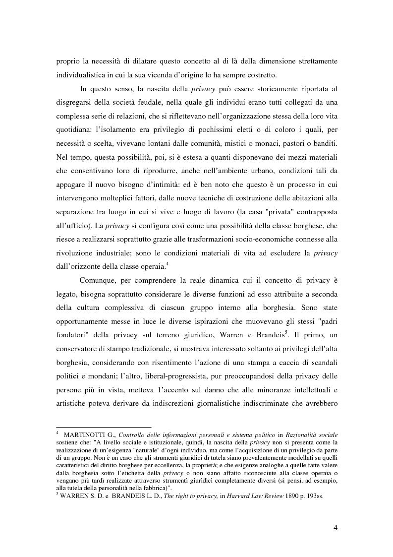 Anteprima della tesi: La tutela della privacy nella pubblica amministrazione, Pagina 3