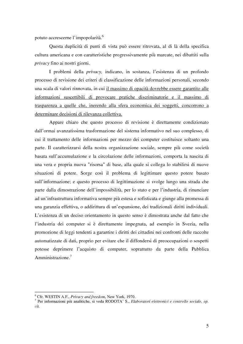 Anteprima della tesi: La tutela della privacy nella pubblica amministrazione, Pagina 4