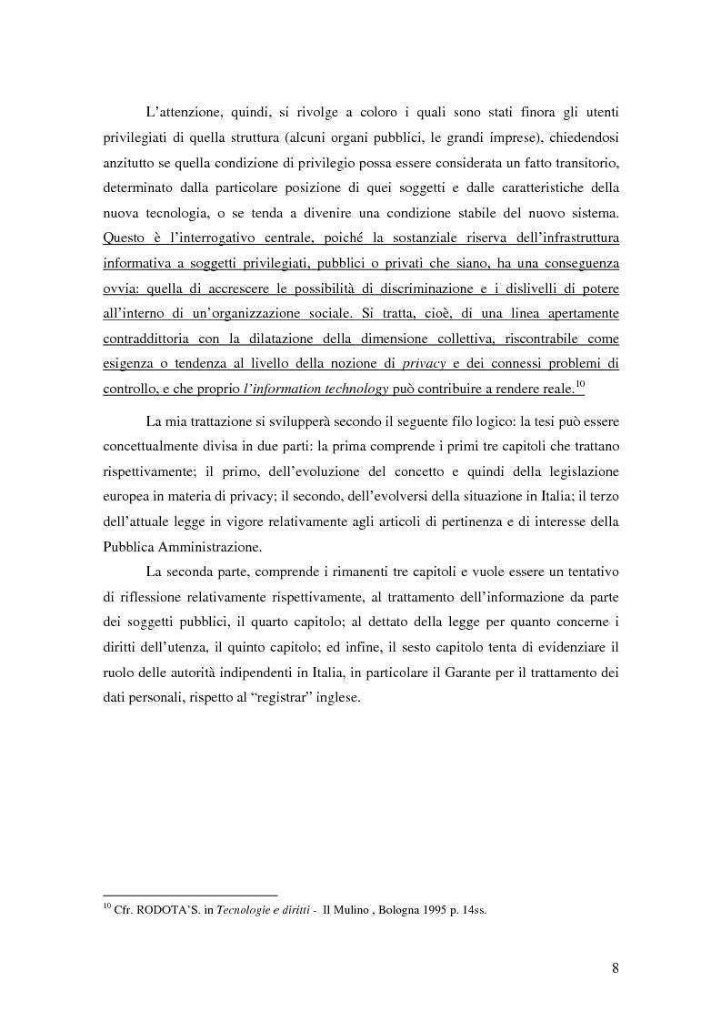 Anteprima della tesi: La tutela della privacy nella pubblica amministrazione, Pagina 7