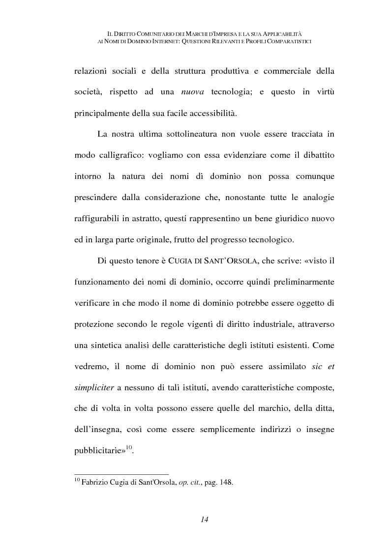Anteprima della tesi: Il diritto comunitario dei marchi d'impresa e la sua applicabilità ai nomi di dominio internet: questioni rilevanti e profili comparatistici, Pagina 11