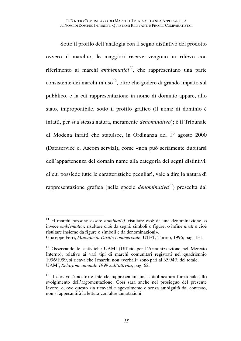 Anteprima della tesi: Il diritto comunitario dei marchi d'impresa e la sua applicabilità ai nomi di dominio internet: questioni rilevanti e profili comparatistici, Pagina 12