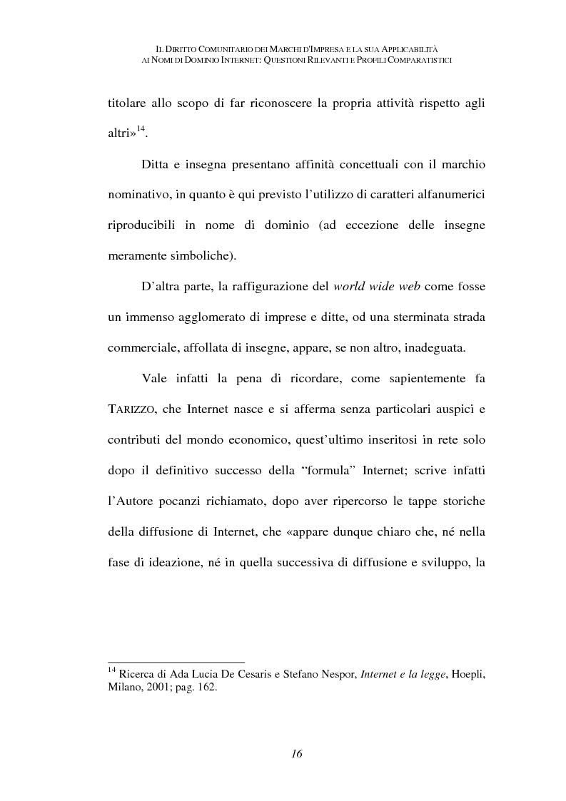 Anteprima della tesi: Il diritto comunitario dei marchi d'impresa e la sua applicabilità ai nomi di dominio internet: questioni rilevanti e profili comparatistici, Pagina 13