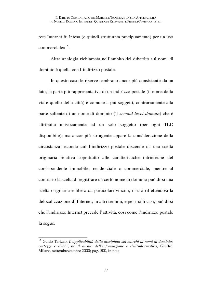 Anteprima della tesi: Il diritto comunitario dei marchi d'impresa e la sua applicabilità ai nomi di dominio internet: questioni rilevanti e profili comparatistici, Pagina 14