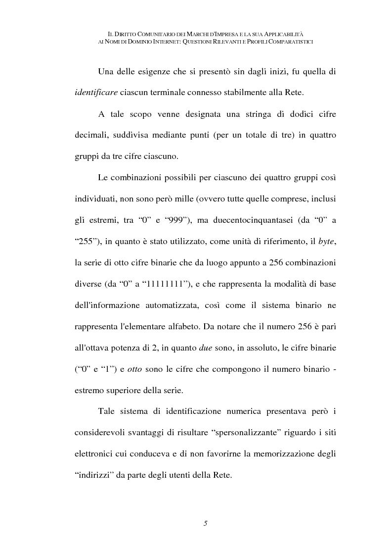 Anteprima della tesi: Il diritto comunitario dei marchi d'impresa e la sua applicabilità ai nomi di dominio internet: questioni rilevanti e profili comparatistici, Pagina 2