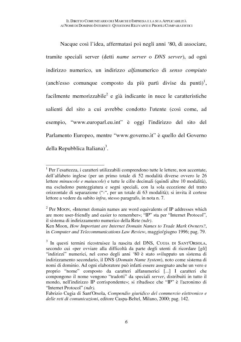 Anteprima della tesi: Il diritto comunitario dei marchi d'impresa e la sua applicabilità ai nomi di dominio internet: questioni rilevanti e profili comparatistici, Pagina 3