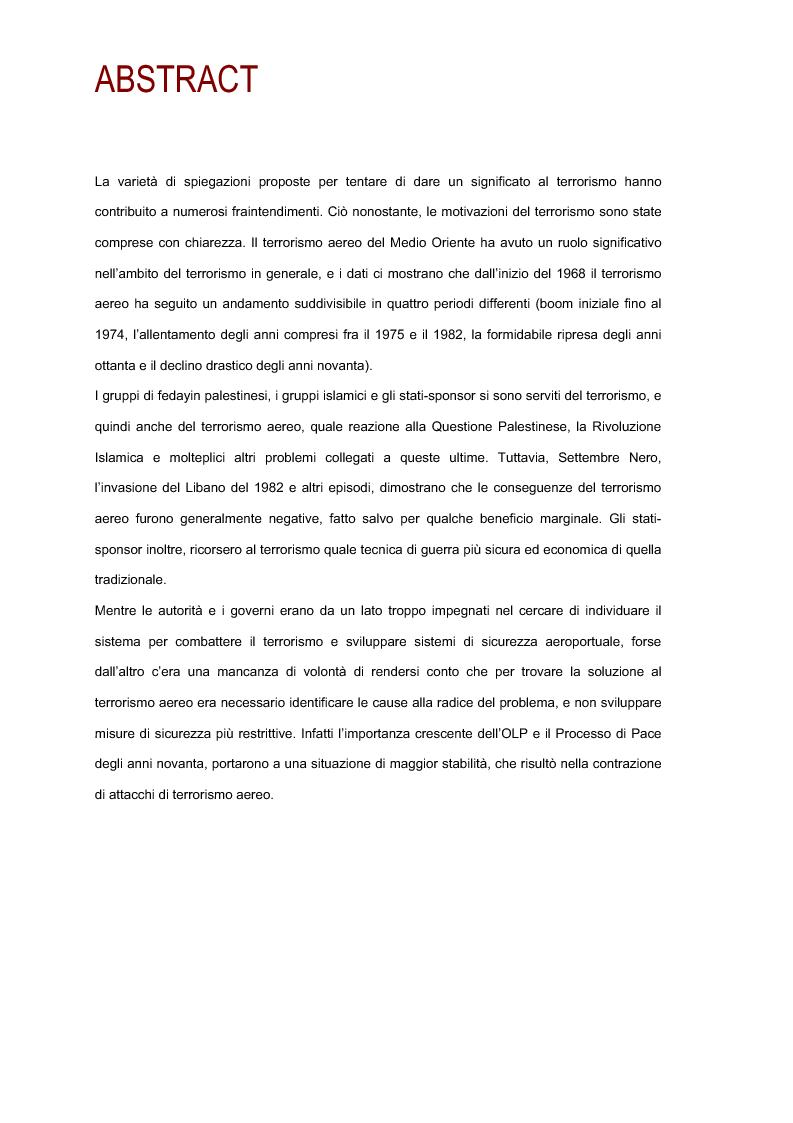 Anteprima della tesi: Il terrorismo aereo del Medio Oriente, Pagina 1