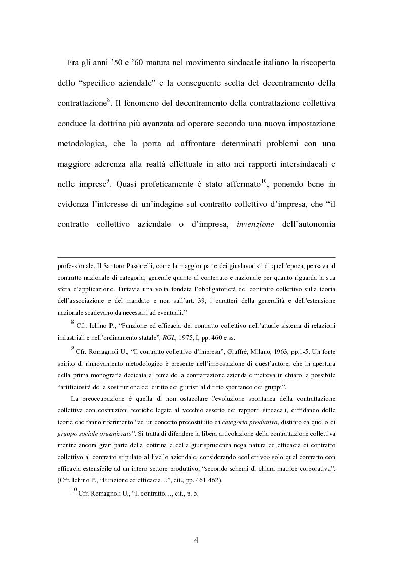 Anteprima della tesi: Il contratto collettivo aziendale, Pagina 4