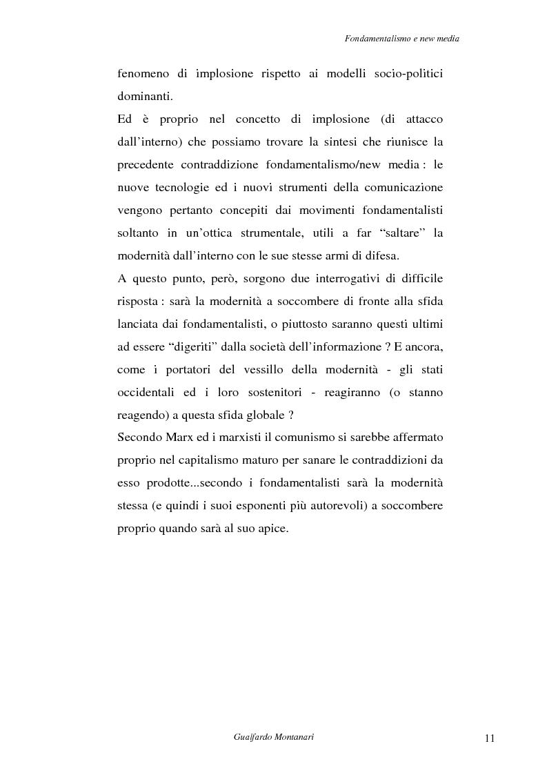 Anteprima della tesi: Fondamentalismo e new media. Un connubio impossibile?, Pagina 9
