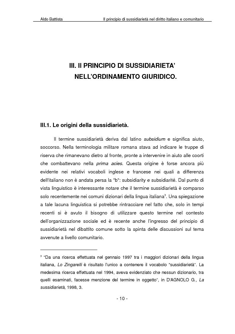 Anteprima della tesi: Il principio di sussidiarietà nel diritto italiano e comunitario, Pagina 5