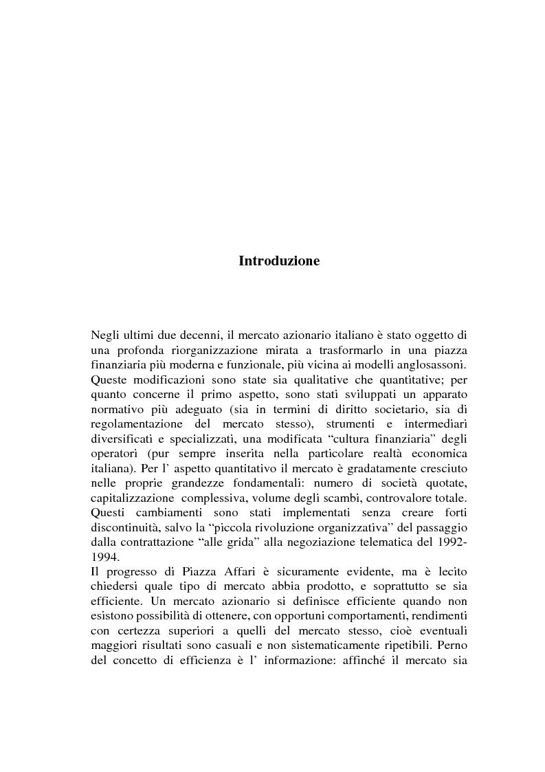 Anteprima della tesi: L'efficienza del mercato azionario italiano: il rapporto prezzo-utile e la capitalizzazione di borsa, Pagina 1