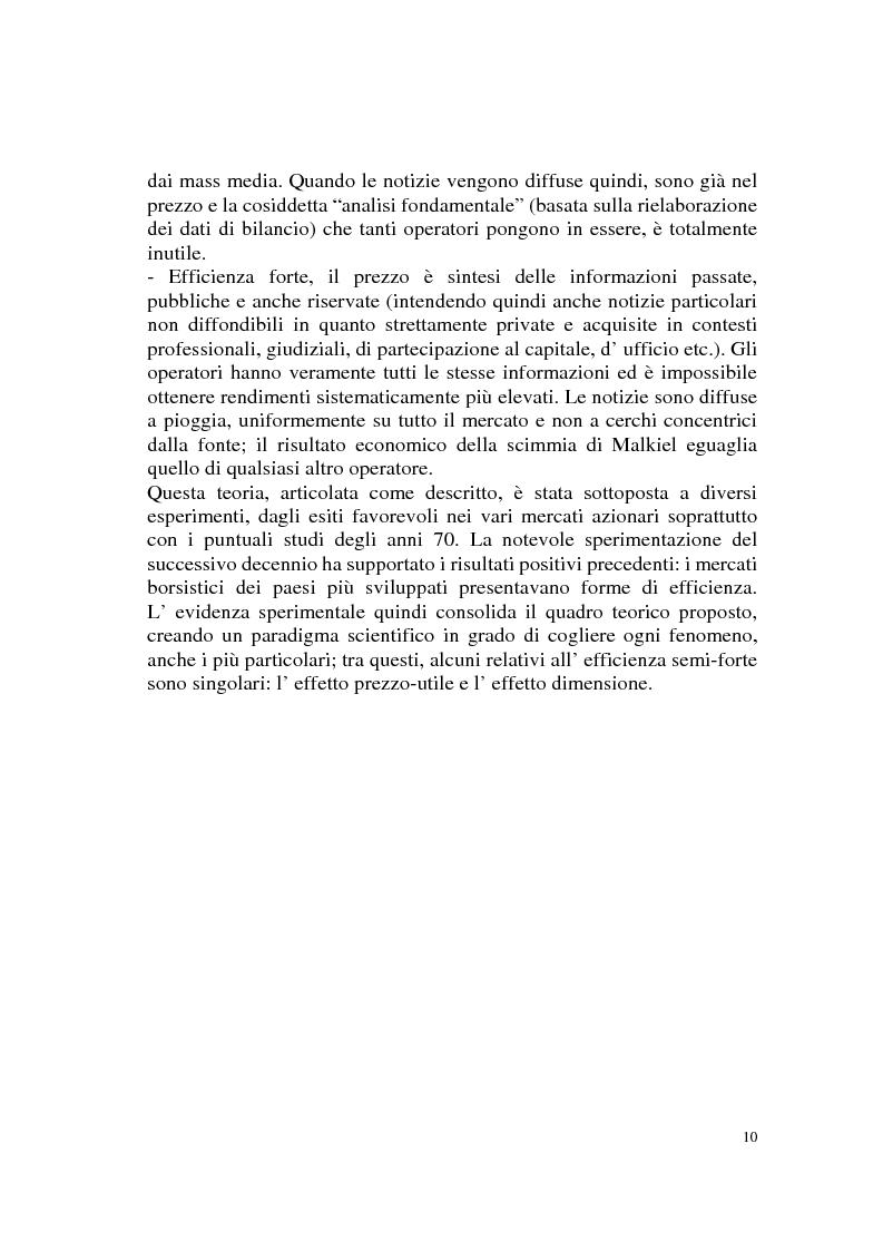 Anteprima della tesi: L'efficienza del mercato azionario italiano: il rapporto prezzo-utile e la capitalizzazione di borsa, Pagina 10