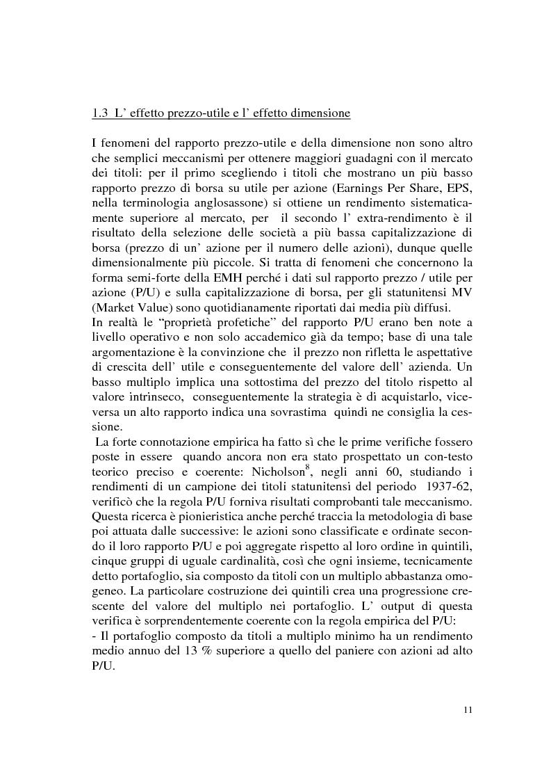 Anteprima della tesi: L'efficienza del mercato azionario italiano: il rapporto prezzo-utile e la capitalizzazione di borsa, Pagina 11