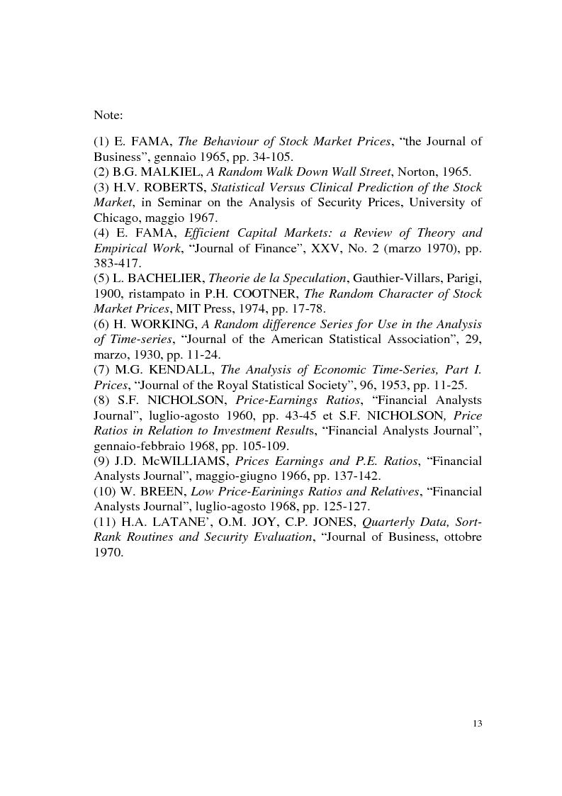 Anteprima della tesi: L'efficienza del mercato azionario italiano: il rapporto prezzo-utile e la capitalizzazione di borsa, Pagina 13