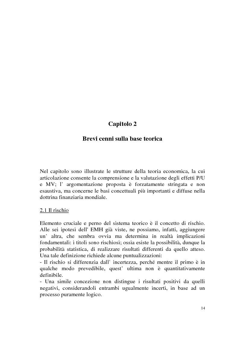 Anteprima della tesi: L'efficienza del mercato azionario italiano: il rapporto prezzo-utile e la capitalizzazione di borsa, Pagina 14
