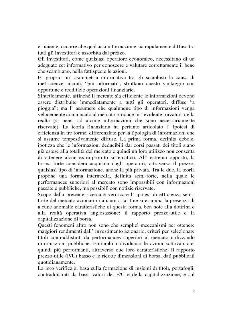 Anteprima della tesi: L'efficienza del mercato azionario italiano: il rapporto prezzo-utile e la capitalizzazione di borsa, Pagina 2