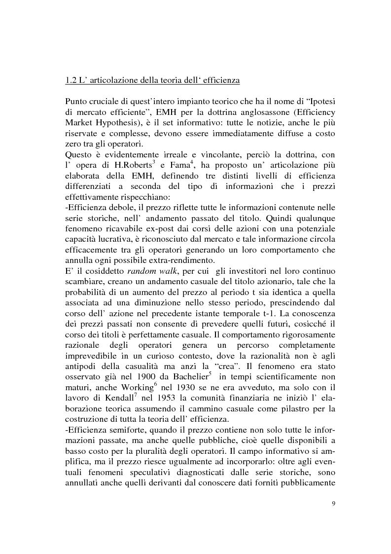 Anteprima della tesi: L'efficienza del mercato azionario italiano: il rapporto prezzo-utile e la capitalizzazione di borsa, Pagina 9
