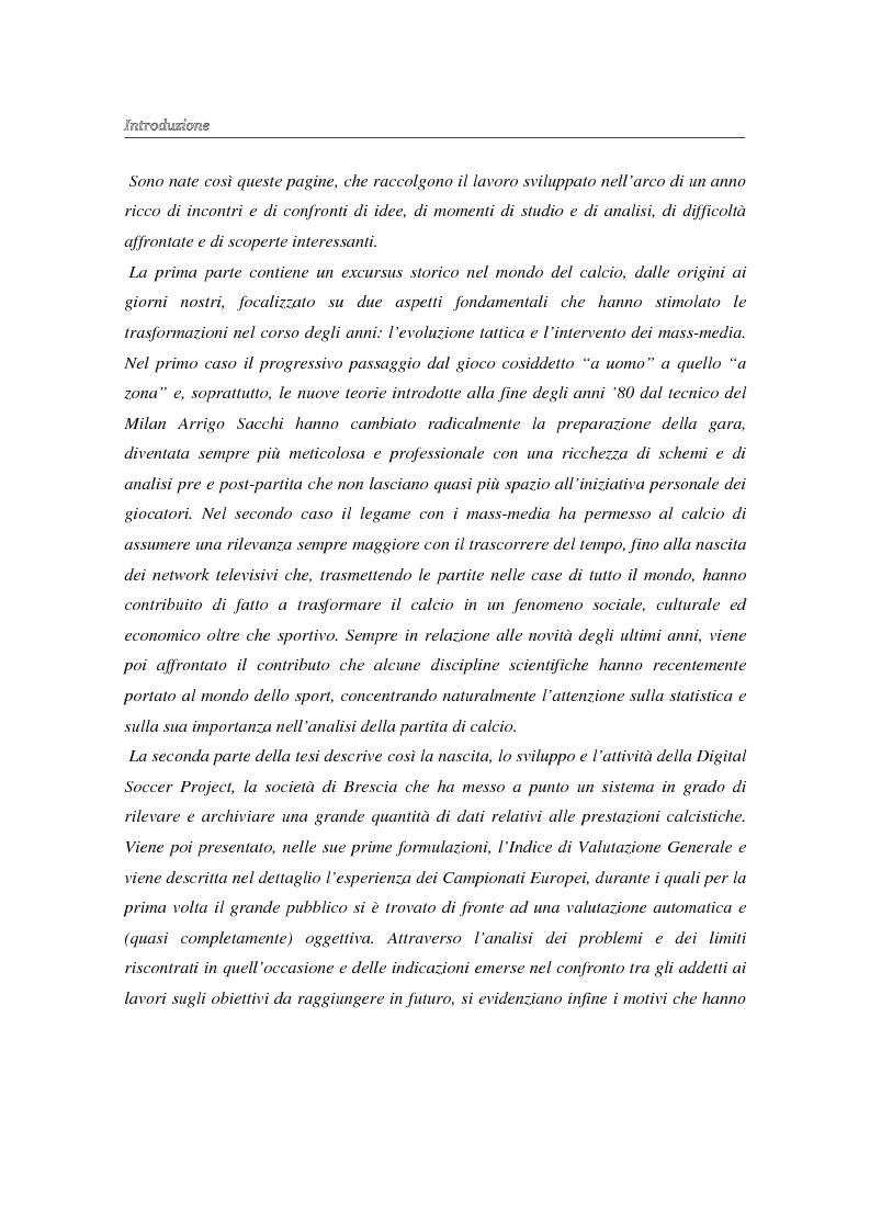 Anteprima della tesi: La valutazione oggettiva di una prestazione sportiva: l'analisi della partita di calcio e un nuovo modello per il calcolo dell'IVG, Pagina 2