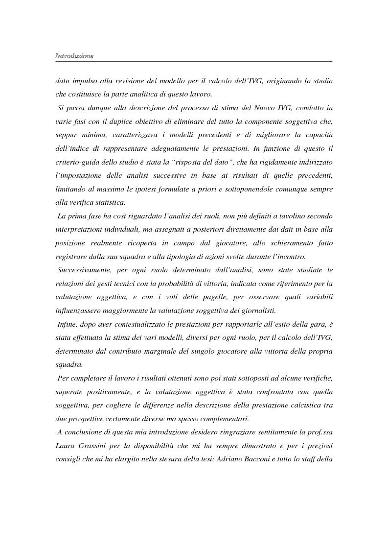 Anteprima della tesi: La valutazione oggettiva di una prestazione sportiva: l'analisi della partita di calcio e un nuovo modello per il calcolo dell'IVG, Pagina 3