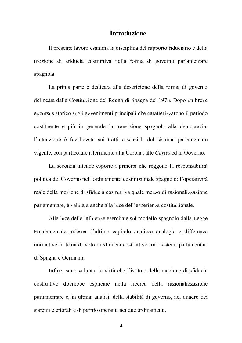 Anteprima della tesi: Il rapporto fiduciario nella forma di governo parlamentare spagnola, Pagina 1