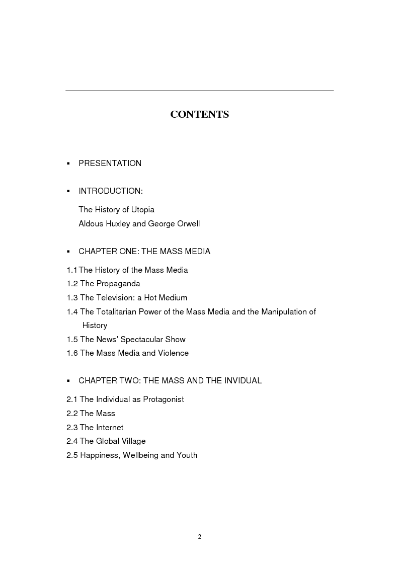 Indice della tesi: The Contemporary World Seen through the Dystopian Novels of Huxley and Orwell, Pagina 1