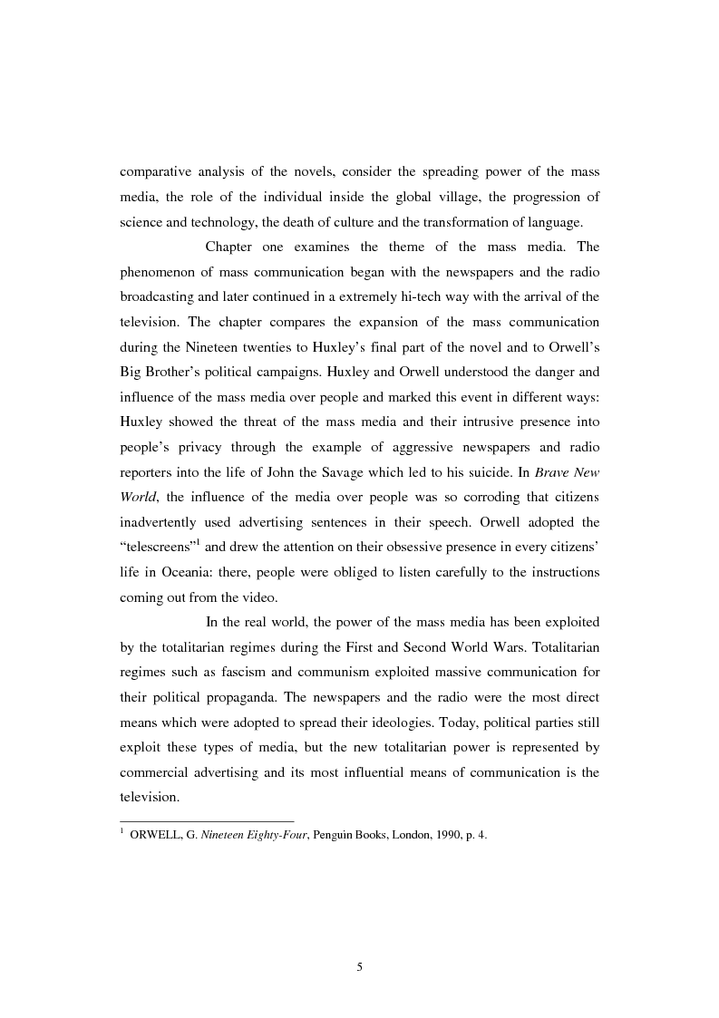 Anteprima della tesi: The Contemporary World Seen through the Dystopian Novels of Huxley and Orwell, Pagina 2