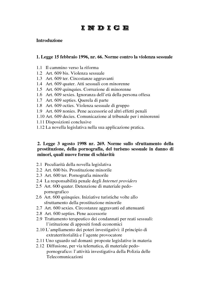 Indice della tesi: Trattamento penale e penitenziario dei condannati per reati sessuali, Pagina 1